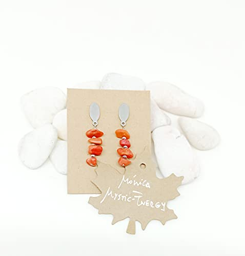 Pendientes de Piedras Naturales Auténticas, pendientes de Coral Rojo, pendientes de mujer, pendientes de acero, regalo único.