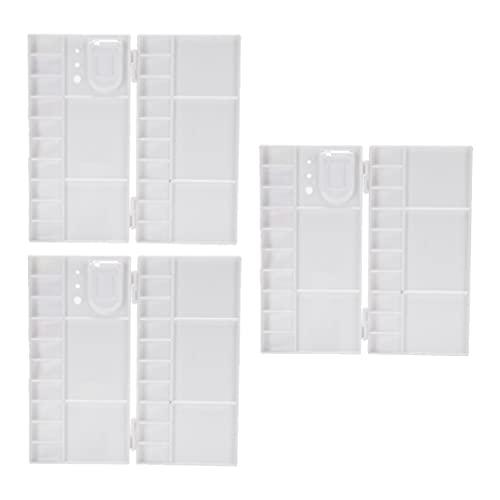 VICASKY 3 Piezas de Caja de Pintura de Paleta de Acuarela Vacía Caja de Metal Bandejas de Pigmento Clamshell Color de Mezcla de Placas Cajas con Tapa de Arte para Estudiantes