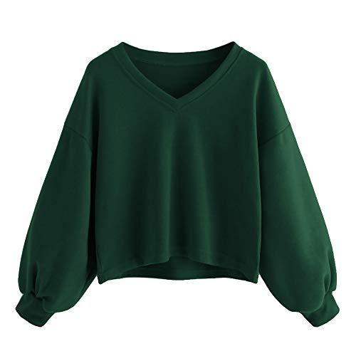Damen Sweatshirt Kapuzenpulli Top Pullover Hoodie Mode Teenager Mädchen Casual Kurz Jumper Crop Oberteil Tops Blouse (Grün, 38) (Grün, S)