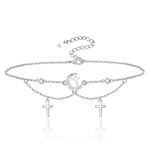 Moon Star Anklet for Women 925 Sterling Silver Flashing Layered Adjustable Bracelet Foot Anklets Sea Beach Jewelry Gifts for Wife Girls Mom Girlfriend