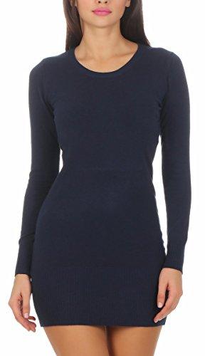 Fashion4Young 10963 Damen Feinstrick Pullover Strickpullover Langarm Rundhals Strickkleid Mini (dunkelblau, S/M=34/36)