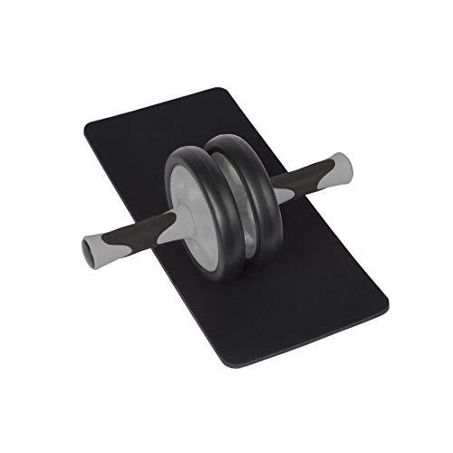 zoomyo Peak Power Bauchtrainer AB Roller, handliches Fitnessgerät und Bauchmuskeltrainer – trainiert Bauch, Muskulatur und Rücken – Bauchroller inklusive Knieauflage Navy (Schwarz)
