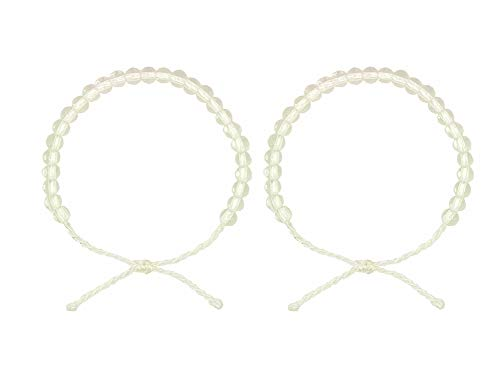 Onord Women's Charm 4-Ocean Bracelet are Hand-Beaded Jewelry Made from Recycled Jewelry Unisex (2PCS) (White)