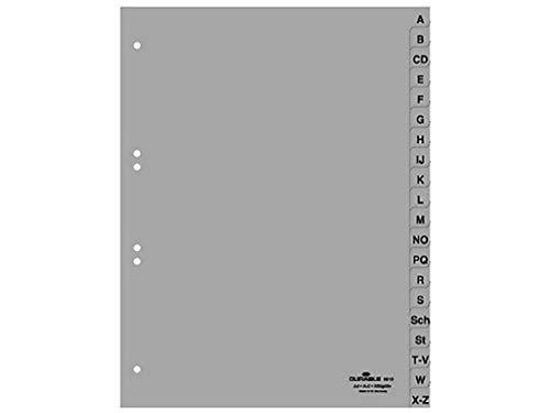 Durable 651010 A-Z Register (A4, geprägte Taben, 20tlg., aus PP, volldeckend) 20 Stück, grau
