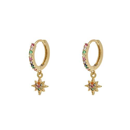 Damen Creolen klein mit Anhänger, 18K Vergoldet Ohrringe mit Zirkonia Steinen Huggie Hoops