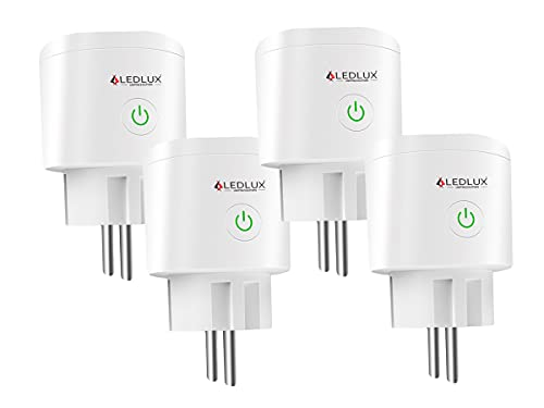 LEDLUX Presa Smart WiFi,Compatibile Con Alexa e Google Home,Presa Intelligente Smart Plug,Spina EU 220V 16A,Timer Monitoraggio Consumo,APP TUYA (4 PCS)