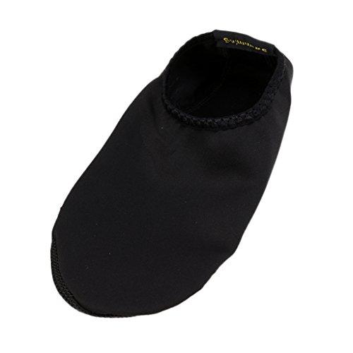 Baoblaze Suela Antideslizante Duradera Unisex Zapatos De Piel De Agua Descalza Calcetines Aqua para Piscina De Playa Arena Nadar Surf Yoga Aerobic Acuático - Negro, M