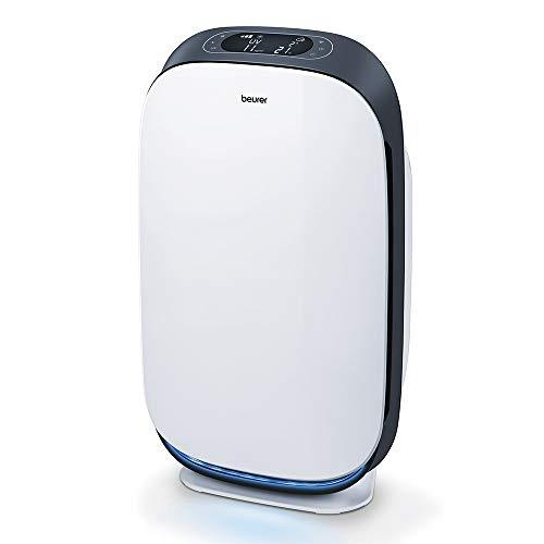 Beurer LR500 - Purificador de Aire con Bluetooth-Wifi, limpieza mediante filtrado 3 capas, luz ultravioleta, espacios 35-100 M2, 4 nivels y función turbo, color blanco negro