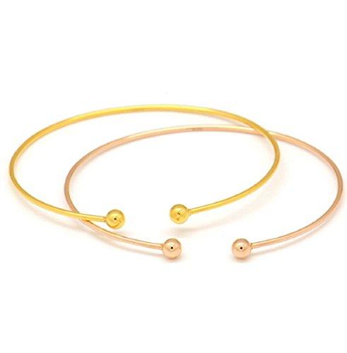 GOWE Armreif, 18 Karat Gold, 750, massiv, klassisch, schlicht, glatt, runde Perlen, offen, für Frauen und Mädchen