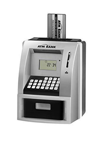 LIKE Toy Talking ATM Bank ATM Machine Savings Bank for Kids –Works a Real one- Deposit, Withdraw, Debit Card, Saving Target, Timer and Clock