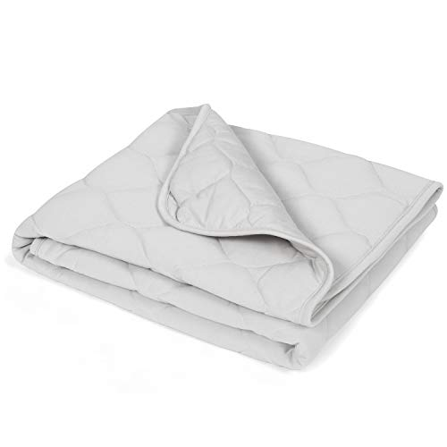 """TILLYOU Down Alternative Toddler Comforter Blanket for Baby Boys Girls, Summer-Weight Breathable Cooling Crib Quilt for Sleeping, Soft Light Nursery Bed Cover, 39""""x47"""",Gray"""