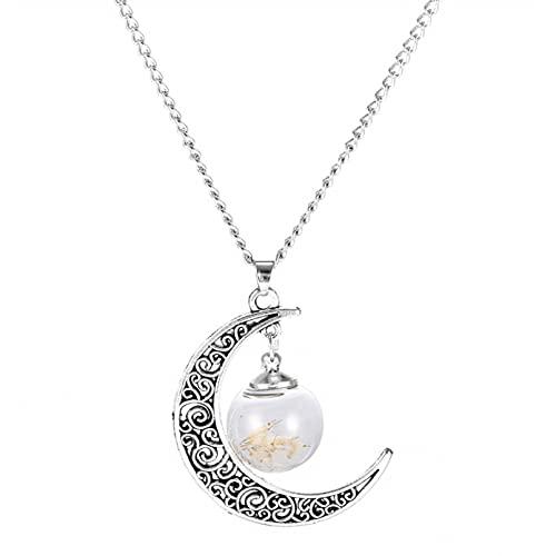 SOTUVO Collar Wish Glass Bottle Real Diente de león Semillas Colgante Collar Lucky Locket Joyas para Mujeres Amigas