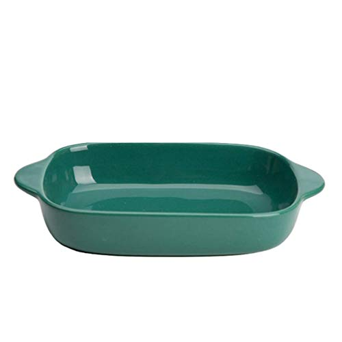 Rectangular Double-eared Rice Cooker Ceramic Dinner Plates Creative Color Oven Microwave Oven Baking Tray Household Ceramic Plate Best Dinner Plates L20.1.10 (Color : Green)