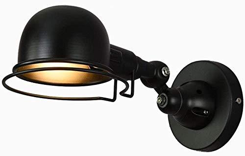 Lámparas de escritorio FHW Lámpara de cabecera lámpara de Pared Dormitorio café cafetería Bar Vintage Industrial Hierro Negro lámpara de Pared luz Interior con e14 ángulo Ajustable 360 ° Giratorio