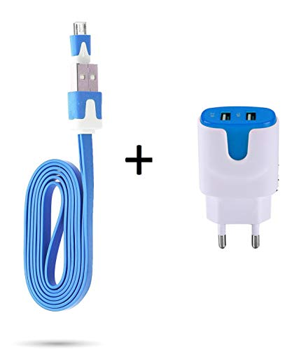 Oplader voor Controller Playstation 4 PS4 Smartphone Micro-USB-kabel 1 m oplader + dubbel stopcontact kleur USB (blauw)