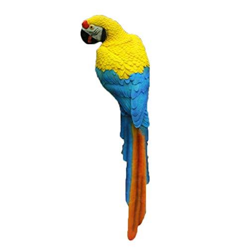Garden Ornament Outdoor Statues Outdoor garden simulation parrot sculpture decoration community tree fiberglass animal pendant decoration yard decoration ideas (Color : Yellow, Size : 50 * 11 * 22cm)