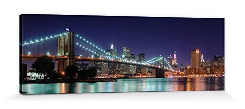 1art1 Nueva York - Panorama De Noche del Puente De Brooklyn Cuadro, Lienzo Montado sobre Bastidor (150 x 50cm)