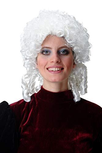 WIG ME UP - 91203-ZA62 Parrucca Uomo Donna Carnevale Halloween Barocco Rinascimento Riccia Ricci a cavatappo Bianco Code