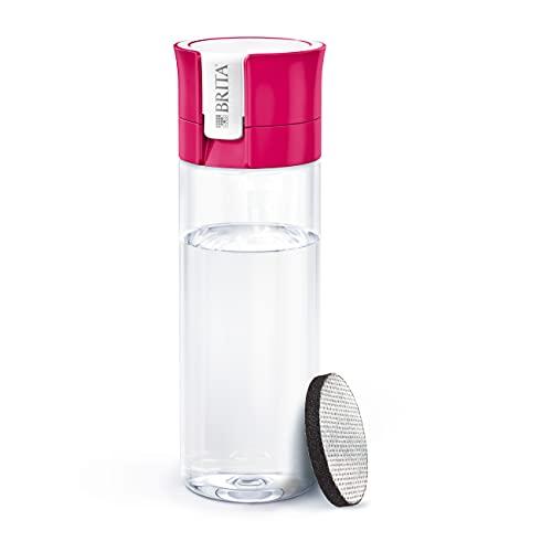 Botella filtrante BRITARosa- Filtro TecnologíaMicroDisc, Óptimo sabor para disfrutar en cualquier lugar, Botella de Agua sin BPA, 0.6 litros