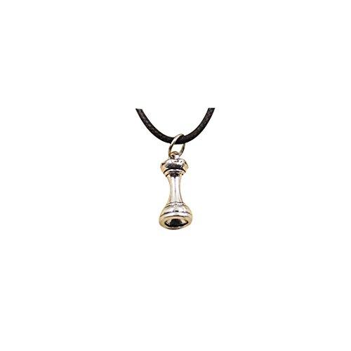 diysdlridrr Collar de plata tibetana con colgante de castillo de ajedrez y cadena de cuero negro