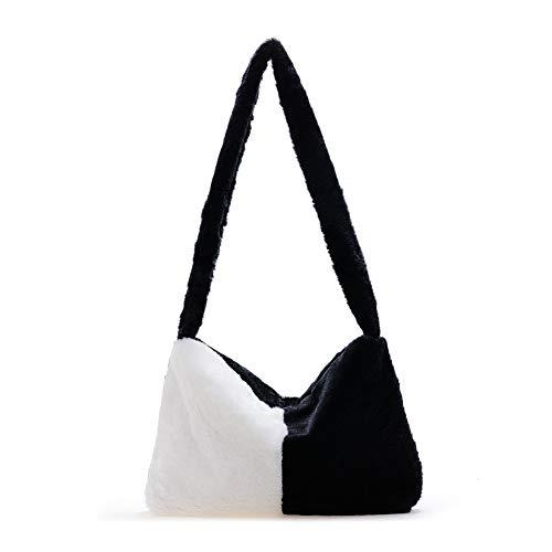 大将 Bolso de la manija superior de la felpa de las mujeres del bolso de la axila del hombro del patrón, (Negro y blanco), Small
