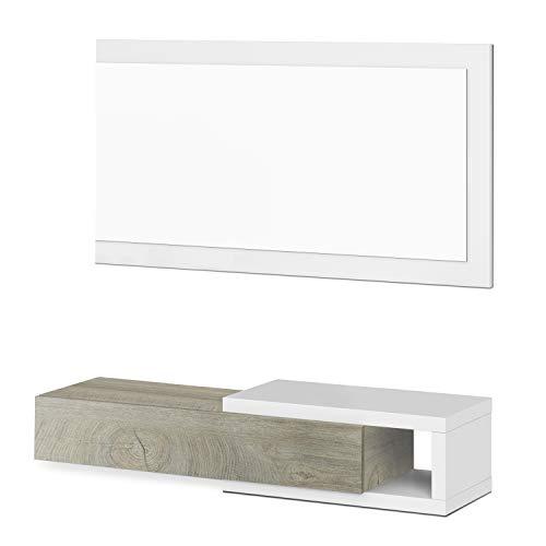 Habitdesign Recibidor con Cajon y Espejo, Mueble de Entrada, Modelo Noon, Acabado en Blanco Artik y Roble Alaska, Medidas: 95 cm (Ancho) x 19 cm (Alto) x 26 cm (Fondo)