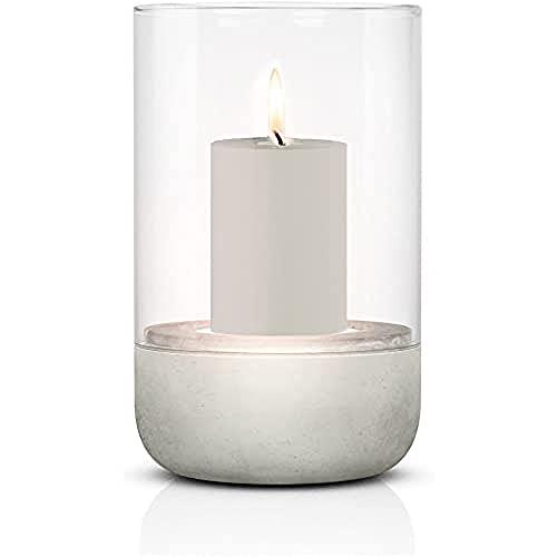 blomus -CALMA- Windlicht M in exklusiver Optik, puristischer Beton-Sockel, trendiger Kerzenhalter mit Kerze, garantierte Standfestigkeit, hochwertig (H / B / T: 20 x 12 x 12 cm, Grau, 65444)