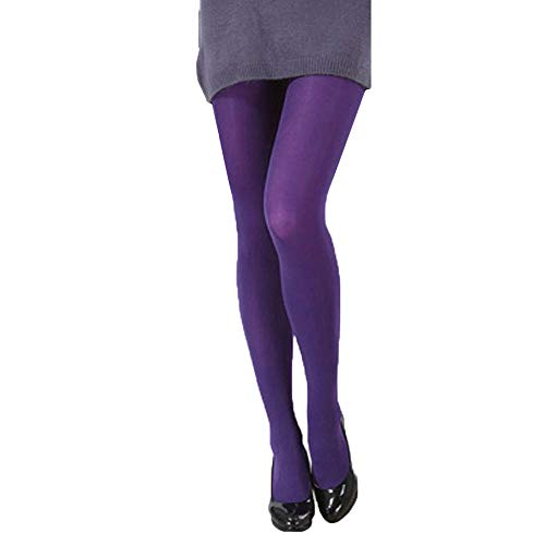 Yemenger Tights for Women - Invisibly Reinforced Opaque Brief Pantyhose Stocking Women Sexy Purple