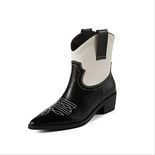 SHZSMHD Klassieke geborduurde PU-lederen laarzen voor vrouwen Wedge High Heel laarzen snake print Western laarzen herfst