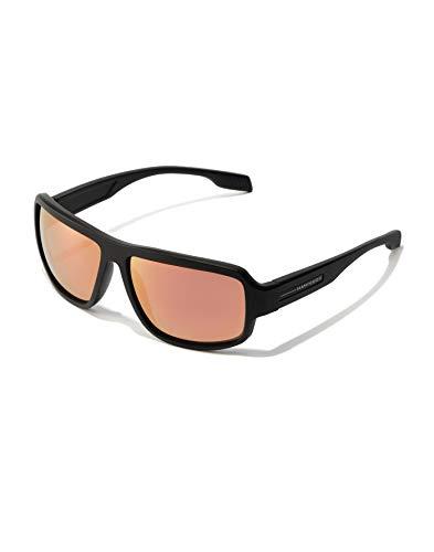 HAWKERS · Gafas de Sol F18 Rose, para Hombre y Mujer, de diseño sportswear con montura negro mate con lentes espejadas rosa dorado, Protección UV400