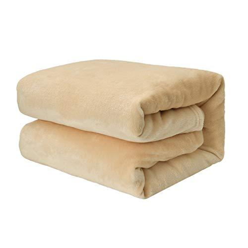 EHC Super weicher flauschiger kuscheliger Flanell-Fleece-Überwurf für Sofa Bett Decken, beige 125 cm x 150 cm