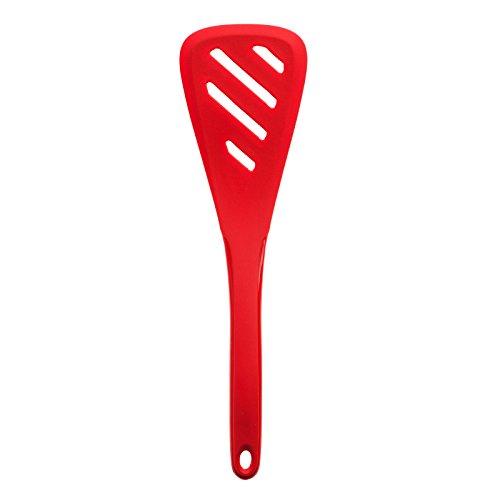 Kochblume Silikon Pfannenwender mit Schlitz dreieckig (rot)
