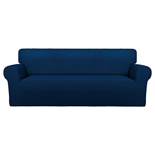 PureFit Super Stretch Chair Sofa Slipcover – Spandex Non Slip Soft Couch Sofa Cover, Washable Furniture Protector with Non Skid Foam and Elastic Bottom for Kids, Pets (Sofa, Navy)