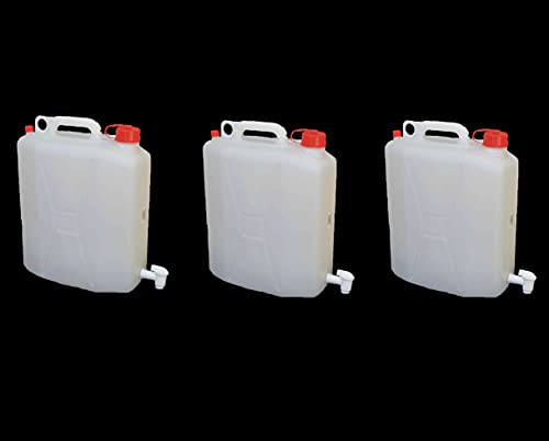 NUOVA PLASTICA ADRIATICA - Bidones de agua con grifo, contenedores para líquidos de 20 litros, 3 unidades