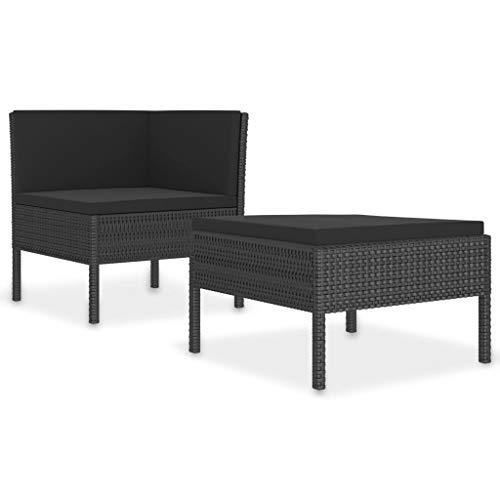 Juego de muebles de jardín de 2 piezas con cojines de ratán sintético negro.
