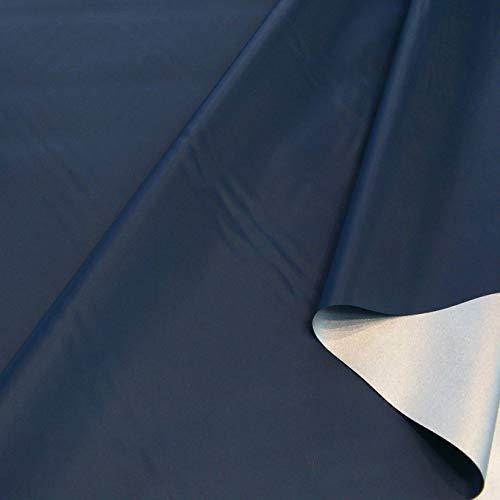 TOLKO Sonnenschutz Stoff mit silber Thermo-Beschichtung | Verdunklungsstoff mit hoher Lichtdichte | Fensterfolie Hitzeschutz Verdunklungsfolie für Verdunklungsvorhänge Gardinen Meterware (Dunkel Blau)
