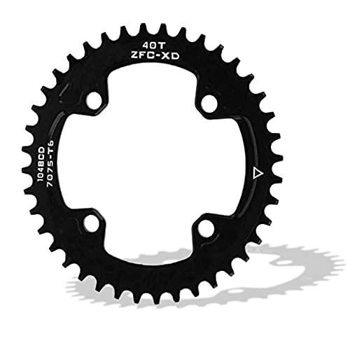 DAUERHAFT Fahrradkettenblatt, rundes ovales 104BCD 40T 42T schmales breites Kettenblatt Einzelkettenblatt, für Shimano Kurbelgarnitur AM/XC Fahrrad(40T)