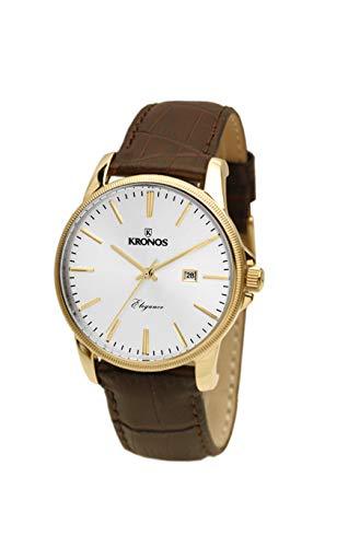 KRONOS - Elegance Golden 964.33 - Reloj de Caballero de Cuarzo, Correa de Piel marrón, Color Esfera: Plateada