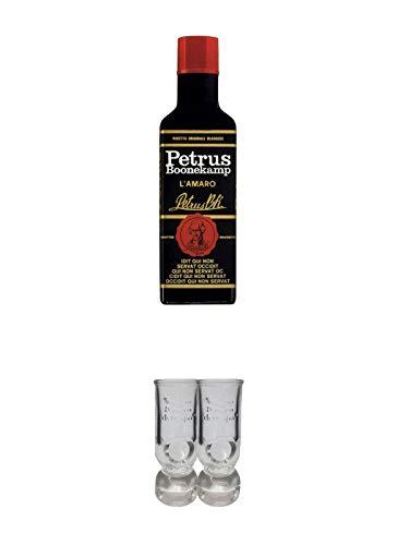 Petrus Boonekamp 45% 0,7 Liter + Caffo Shot Gläser mit Eichstrich 2 Stück