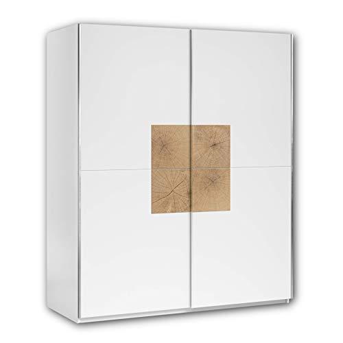 Stella Trading JOOS Schwebetürenschrank modern mit viel Stauraum - Vielseitiger Kleiderschrank in Weiß mit Hirnholz Absetzungen - 170 x 195 x 59 cm (B/H/T)