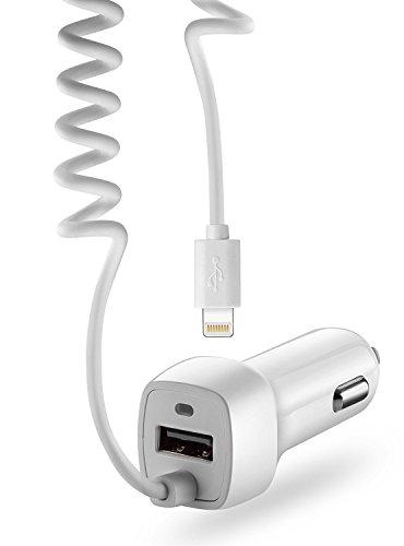 VAPIAO Kfz Auto Ladekabel Ladegerät mit USB Steckplatz und Kabel [Lightning] für [Zigarettenanzünder] für iPhone X, iPhone 8, iPhone 7, Samsung Galaxy S8, Note u.v.m. in weiß
