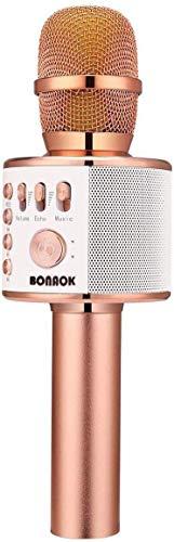 BONAOK Micrófono Inalámbrico de Karaoke Bluetooth, 3-en-1 Portátil Karaoke Portátil Mic Regalo de Cumpleaños Equipo de Altavoces para Ffiestas en el Hogar para iPhone/Android/iPad PC (Oro Rosa)