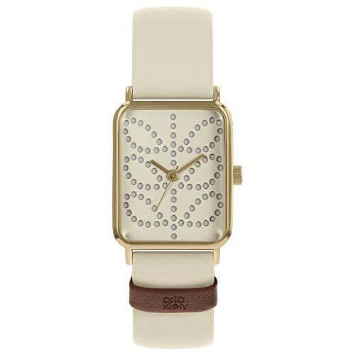 Orla Kiely Damen Analog Klassisch Quarz Uhr mit Leder Armband OK2306
