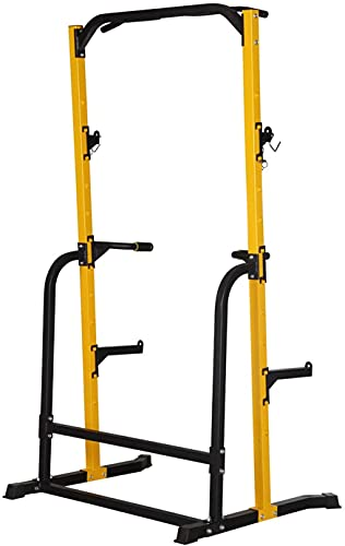 ZENOVA Power Rack Squat Stand with Weight Bench, Fitness Pull Up Power Tower Squat Rack and Workout Bench, 800LBS Weight Capacity (Power Rack Combine Bench)
