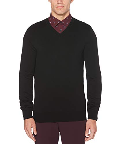 Perry Ellis Men's Classic Solid V-Neck Sweater, Black, Large