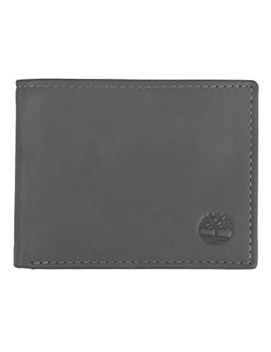 Timberland Herren Leather Wallet with Attached Flip Pocket Reisezubehör - zweifach gefaltetes Portemonnaie, anthrazit, Einheitsgröße