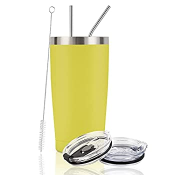 Stainless Steel Travel Tumbler 20 Oz Insulated Tumbler with Lid Straw Double Wall Travel Tumbler Vacuum Insulated Tumbler Cup for Home Office Powder Coated Travel Mug for Hot Cold Drinks Yellow