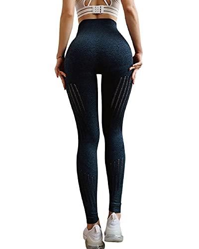 Voqeen Pantalones de Adelgazantes Mujer Leggins Reductores Adelgazantes Leggings de Yoga Tie-Dye Anticeluliticos Cintura Alta Mallas Fitness Push Up para Deporte Mallas (E - Azul Profundo, S)