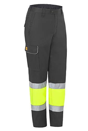 MONZA OBREROL Pantalón De Trabajo Reflectante Largo Combinado de Hombre Alta Visibilidad Profesional. Gris Talla 64-66. Ref:...