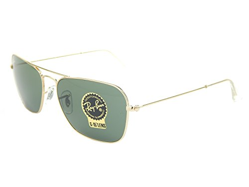 New Ray Ban Caravan RB3136 001 Gold/Green Classic G-15 58mm Sunglasses